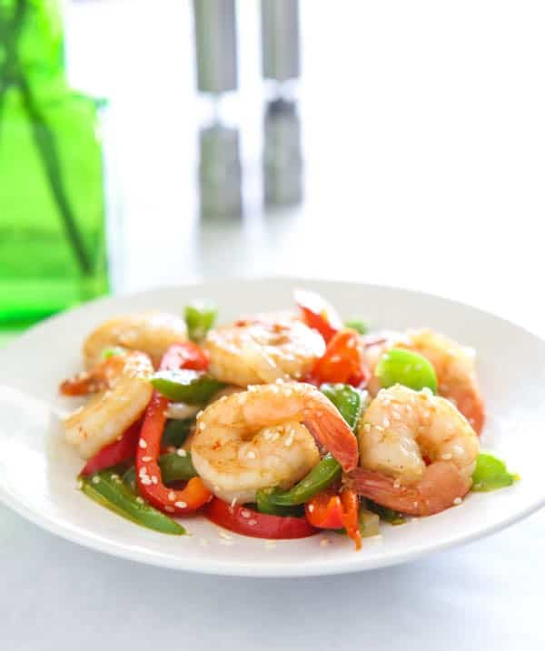Florida Gulf Shrimp and Sweet Pepper Stir Fry @EclecticEveryday