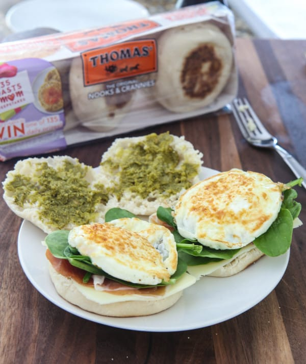 Prosciutto and Basil Pesto English Muffin Panini @EclecticEveryday