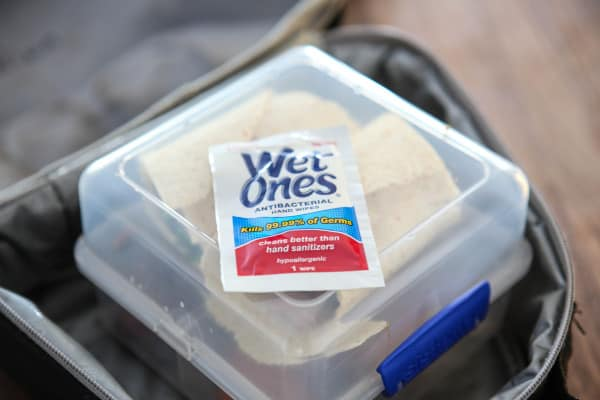 wet ones on lunchbox