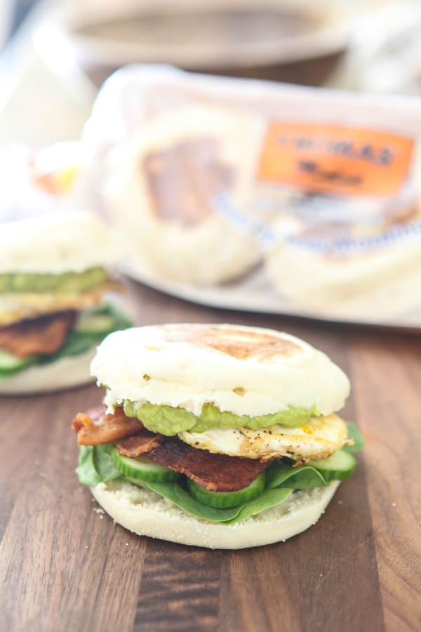 Bacon Avocado And Egg English Muffin Sandwich