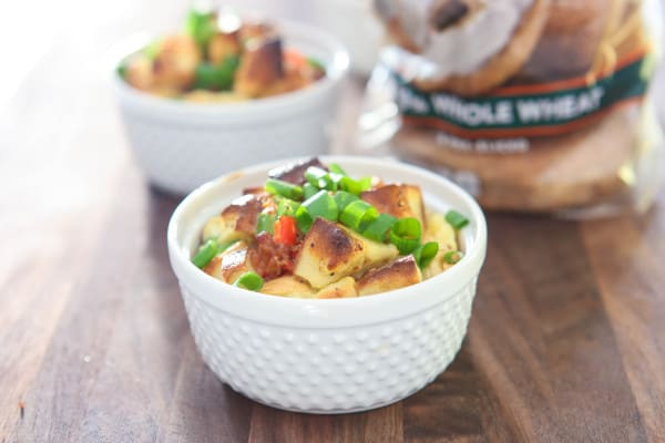 Bagel and Bacon Strata @EclecticEveryday