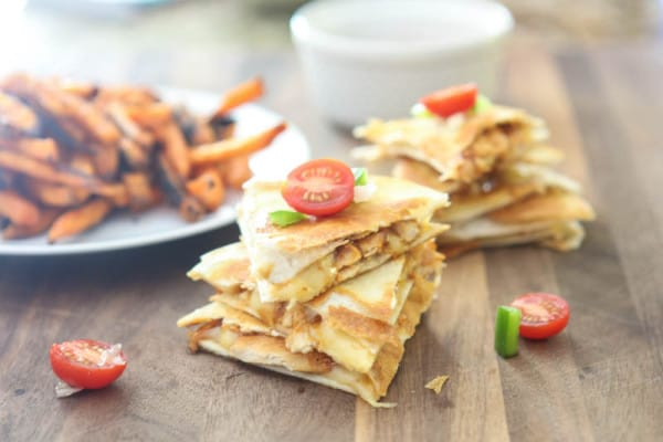 BBQ Chicken Quesadillas and Sweet Potato Fries @EclecticEveryday