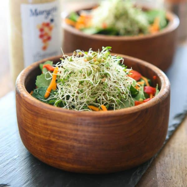 Asiago Peppercorn Kale and Sprout Salad @EclecticEveryday
