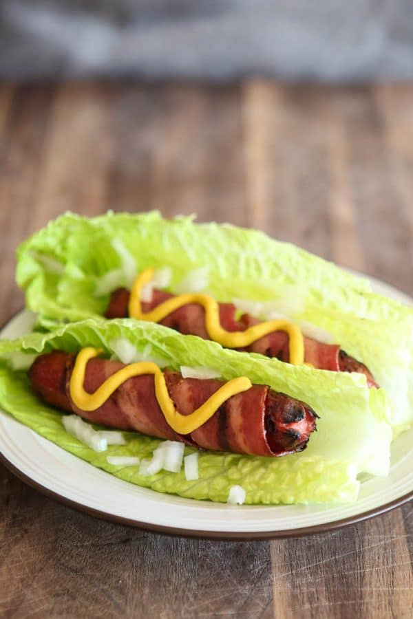 Turkey Bacon Wrapped Hot Dogs in Lettuce Wraps @EclecticEveryday