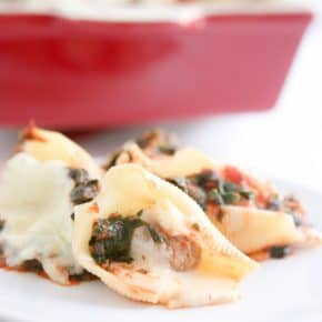 Meatball Stuffed Shells with Spinach @EclecticEveryday