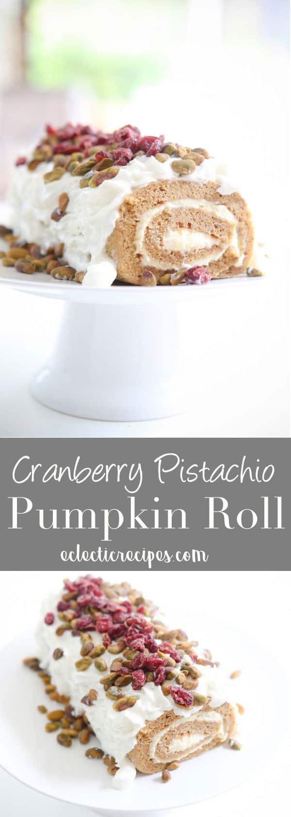 Cranberry Pistachio Pumpkin Roll is so easy and delicious! Perfect for the holidays or anytime of year. #Reddiforfall #holidays #christmas #pumpkin #fall