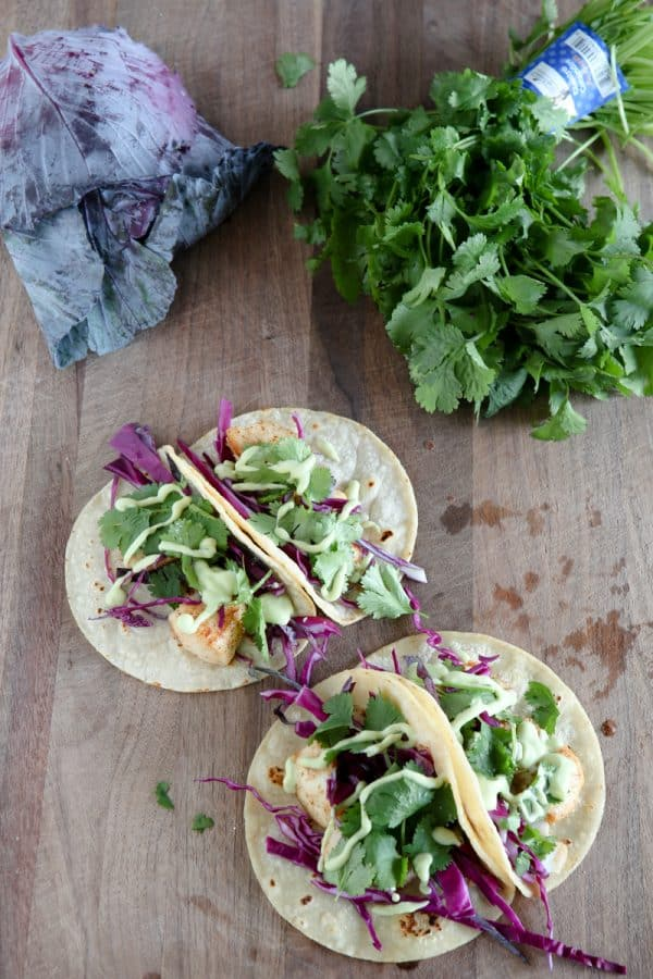 Blackened Alaska Halibut Tacos with Avocado Ranch Sauce @EclecticEveryday