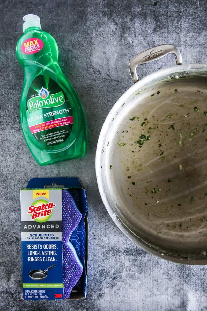 Dirty Skillet with Palmolive and Scotch-Brite