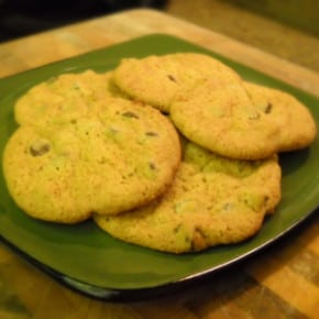 chocolate chip cookies green plate