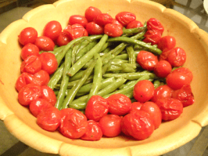 roasted greenbeans and tomatoes