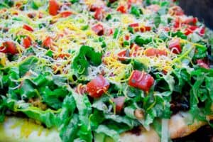 Taco Pizza with Refried Black Beans