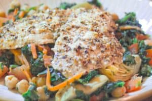 Tilapia over Spinach, Artichoke Hearts and Chickpeas 1
