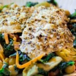 Tilapia over Spinach, Artichoke Hearts and Chickpeas @EclecticEveryday