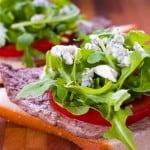 Steak Sandwich with Arugula and Gorgonzola Cheese