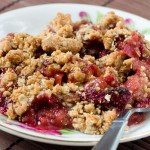 Strawberry Rhubarb Crisp with Oat Pecan Crumb