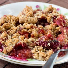 Strawberry Rhubarb Crisp with Oat Pecan Crumb