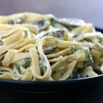Lower Fat Fettuccine Alfredo with Spinach and Mushrooms
