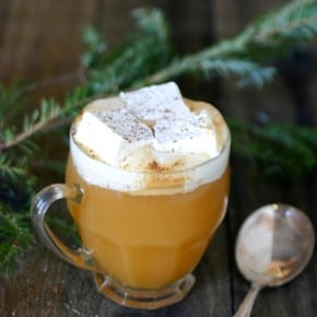 Warm Apple Cider with Honey Rum Marshmallows