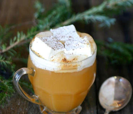Warm Apple Cider with Honey Rum Marshmallows Recipe