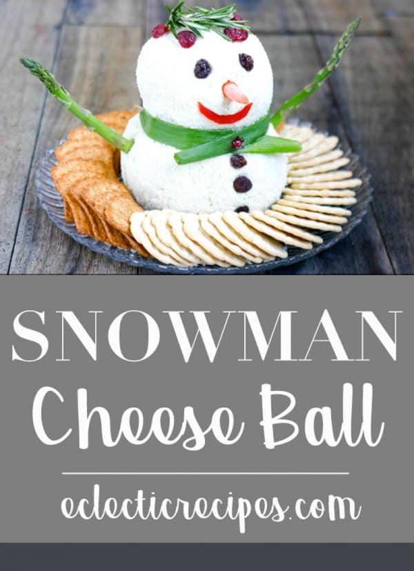 Snowman Cheese Ball @EclecticEveryday