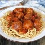 Spaghetti with Mozzarella Stuffed Meatballs @EclecticEveryday