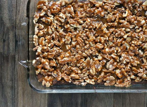 cult free turtle brownies in a pan