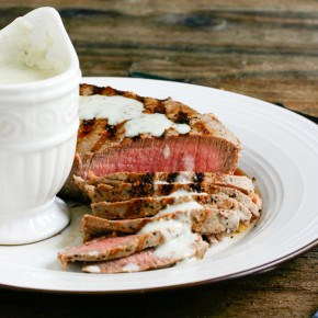 London Broil with Gorgonzola Horseradish Sauce