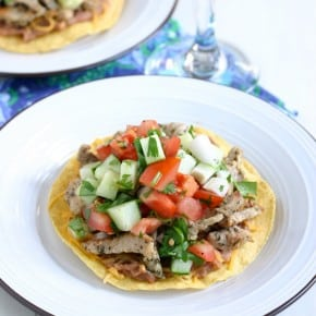Pork Tostadas with Cucumber Lime Salsa Recipe