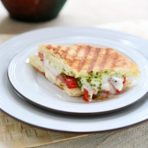 Panini with Prosciutto, Roasted Pepper and Basil Pesto