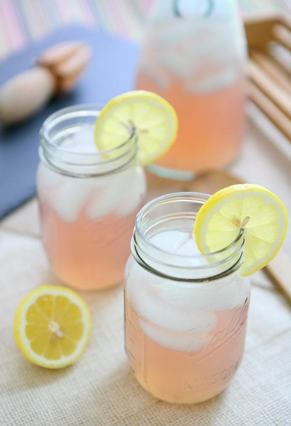 three jars of pink lemonade