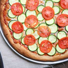 Zucchini and Roma Tomato Pizza