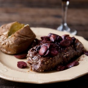 Rib-eye Steak with Burgundy Mushroom Sauce