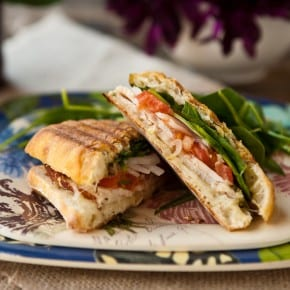 Roast Chicken and Spinach Panini