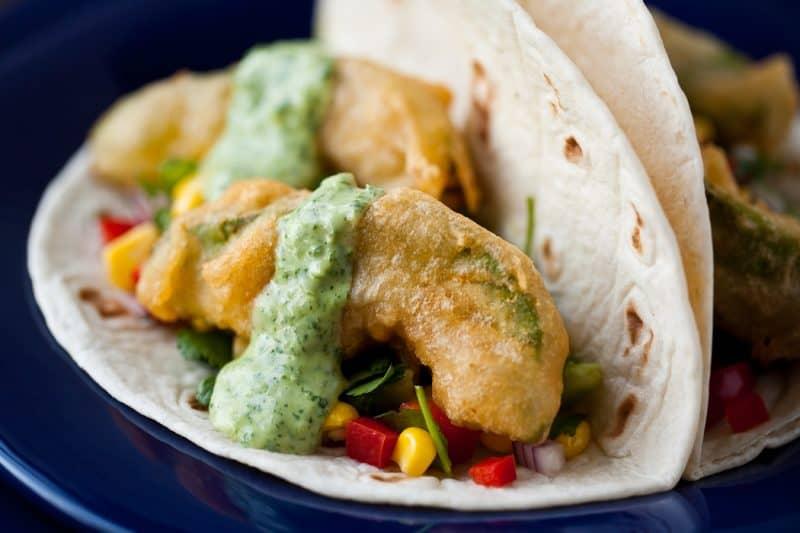 Beer Battered Fried Avocado Tacos Recipe