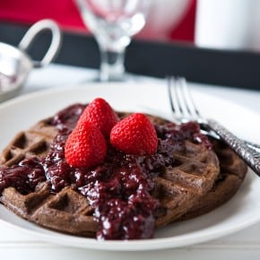 Chocolate Waffles with Slow Cooker Boozy Berries 1