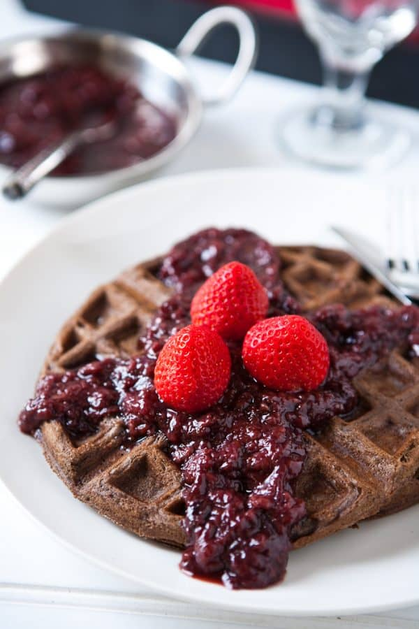 Chocolate Waffles with Slow Cooker Boozy Berries Recipe