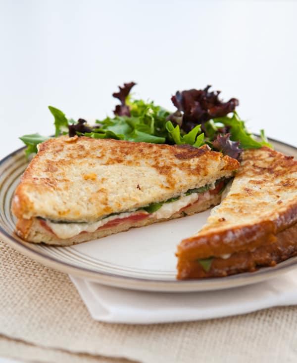 Fried Mozzarella, Basil and Tomato Sandwiches Recipe