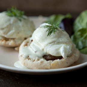 Sausage and Eggs Benedict with Mock Hollandaise Sauce 1