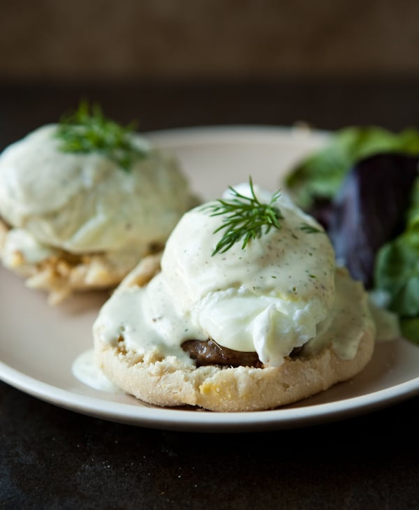 Sausage and Eggs Benedict with Mock Hollandaise Sauce Recipe