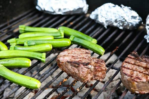 Grilled Steaks with Blue Cheese Garlic Sauce and a Giveaway Recipe