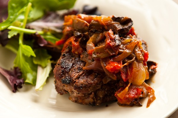 Grilled Steak with Tomato Mushroom Sauce Recipe