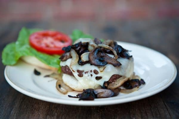 burger with mushrooms