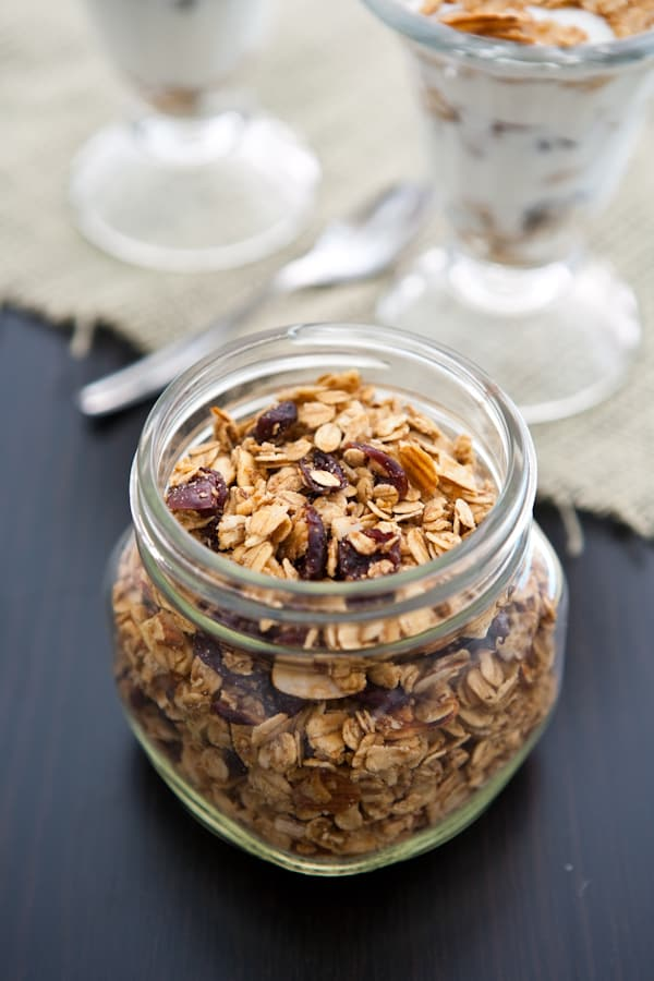 Cranberry Almond Granola Parfaits  by EclecticRecipes.com #recipe