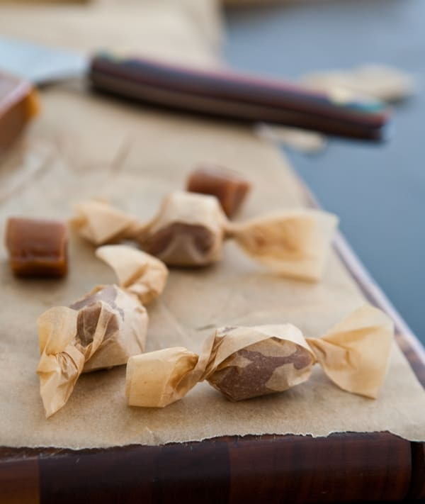 cooked and wrapped brown sugar caramels