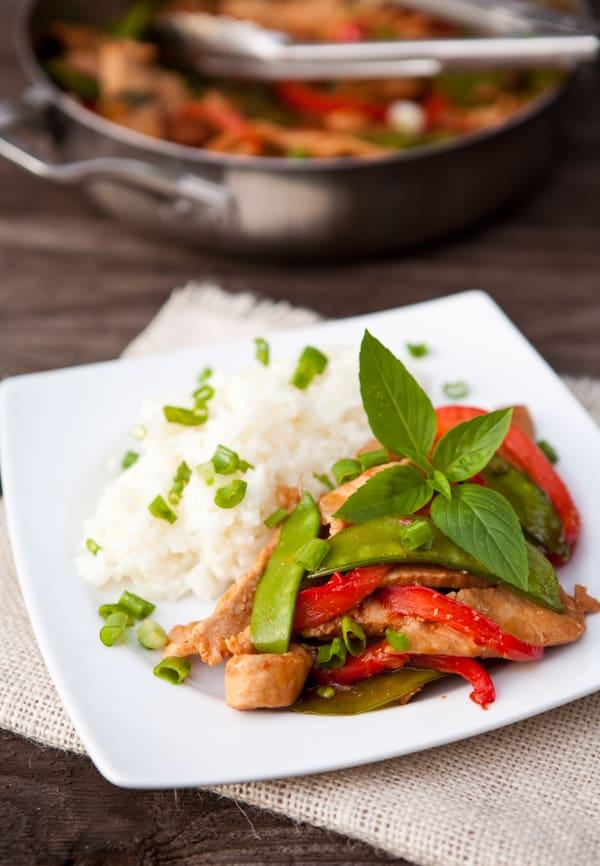 basil pork stir fry