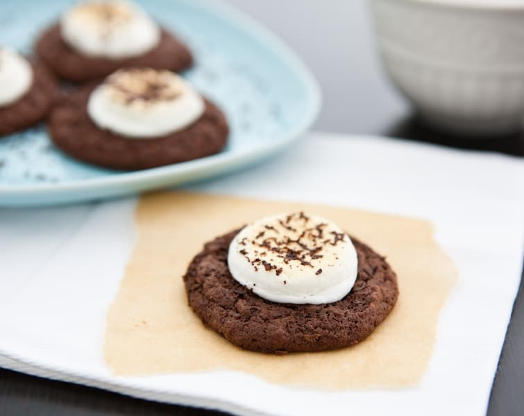 chocolate cookie on parchment paper