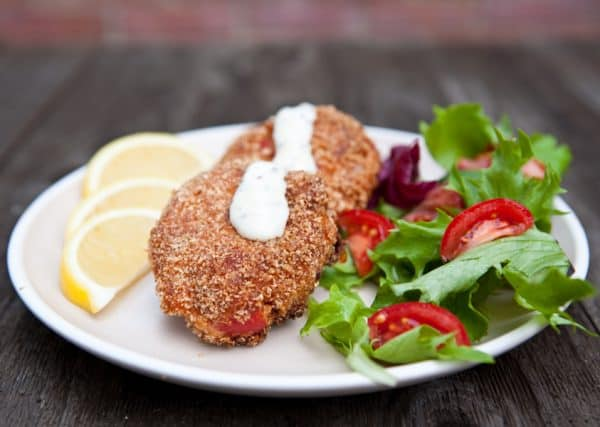 salmon croquettes wood background