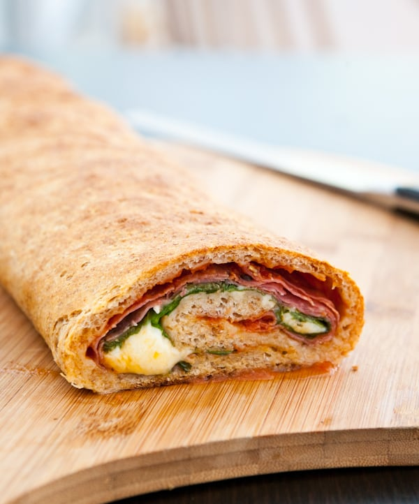 Spinach and Salami Stromboli