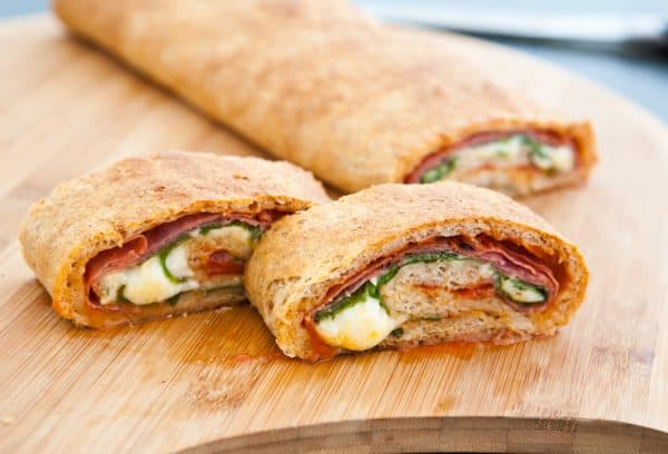Spinach and Salami Stromboli slices