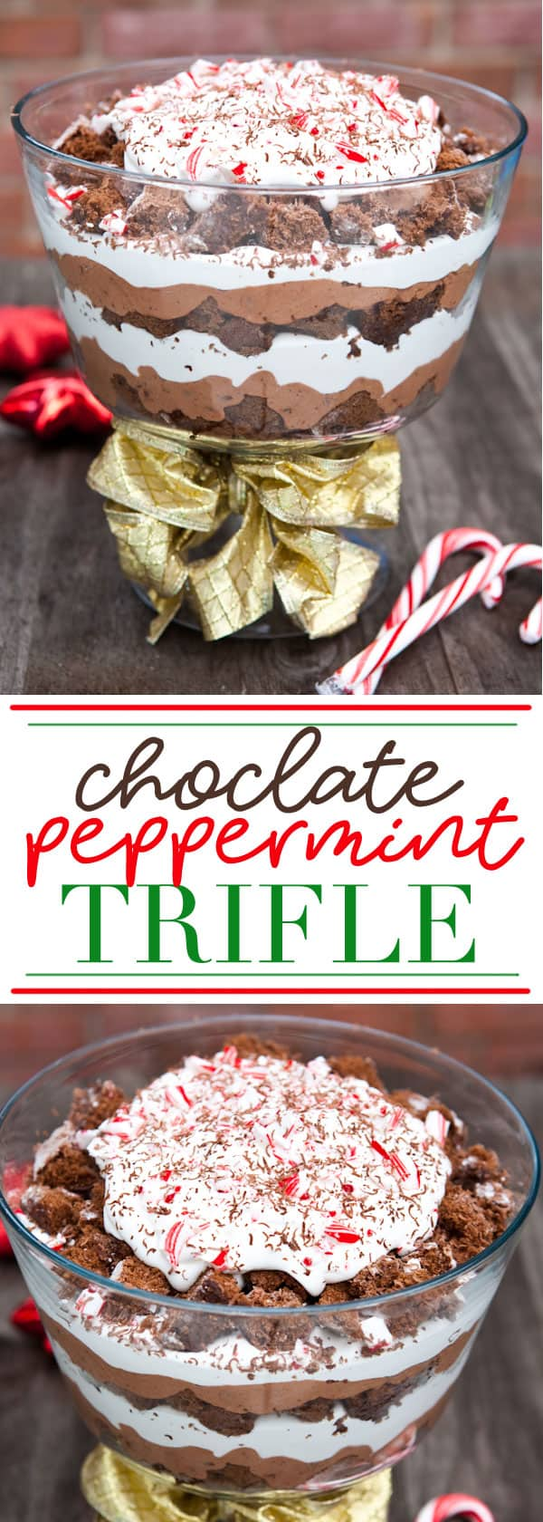 Chocolate Peppermint Trifle #chocolate #christmas #holiday #peppermint #trifle